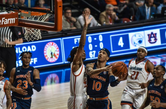 Auburn guard Samir Doughty shoots against South Alabama on Nov. 12, 2019, in Mobile.