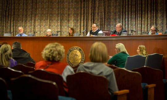 Muncie city council listens to public comment on Tuesday during their November meeting.