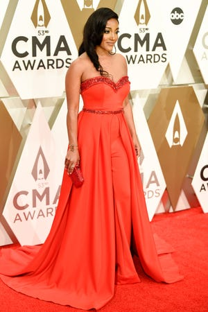 Mickey Guyton on the red carpet during the 53rd Annual CMA Awards at Music City Center in Nashville, Tenn., Wednesday, Nov. 13, 2019.
