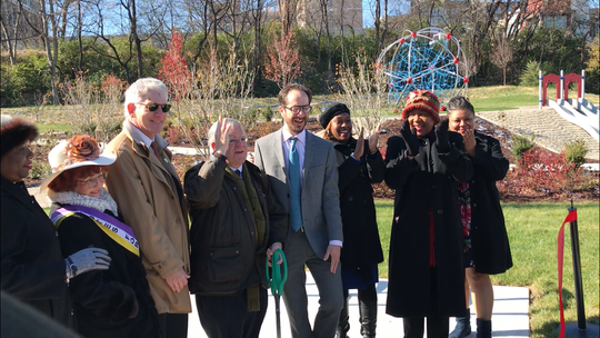 State and city officials joined Nashville Mayor John Cooper (center) to cut the ribbon at the grand opening of Frankie Pierce Park on Wednesday, Nov. 13, 2019.