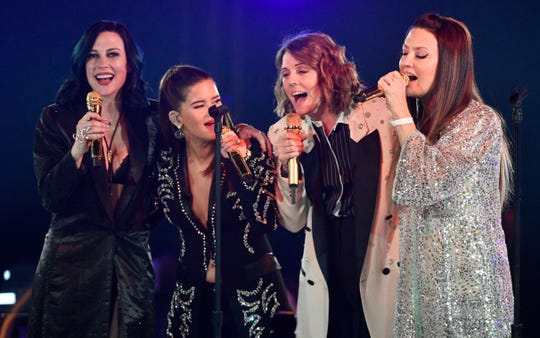 The Highwomen — Amanda Shires, Maren Morris, Brandi Carlile and Natalie Hemby — perform at BMI's 67th annual Country Awards on Nov. 12, 2019, in Nashville.