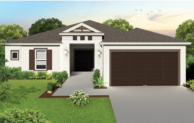 An artist's conception of the Jasmine, a three-bedroom plus study, two-bath home being built by FL Star in Golden Gate Estates.