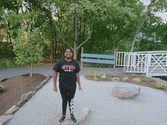 Bergenfield High School student Irthu Pillai has created a meditation garden near Cooper's Pond in Bergenfield.