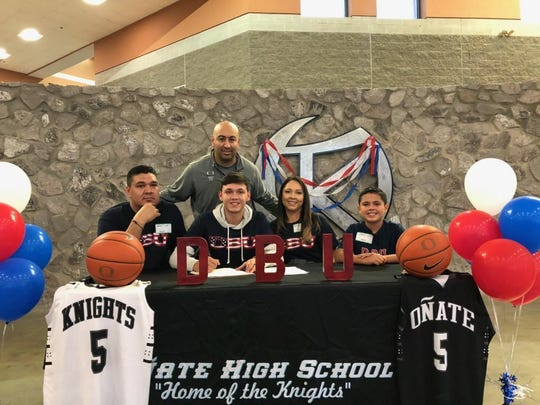Oñate's Ricky Lujan signed with Dallas Baptist University on Wednesday, Nov. 13.