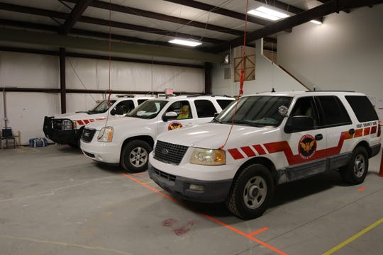Eddy County Search and Rescue vehicles get ready for possible deployment.