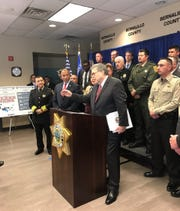 "U.S. Attorney General William Barr speaks during a press conference about ""Operation Triple Beam Albuquerque"" on Nov. 12 at the Bernalillo County Sheriff 's Office in Albuquerque. Farmington Police Chief Steve Hebbe and San Juan County Sheriff Shane Ferrari attended the press conference."