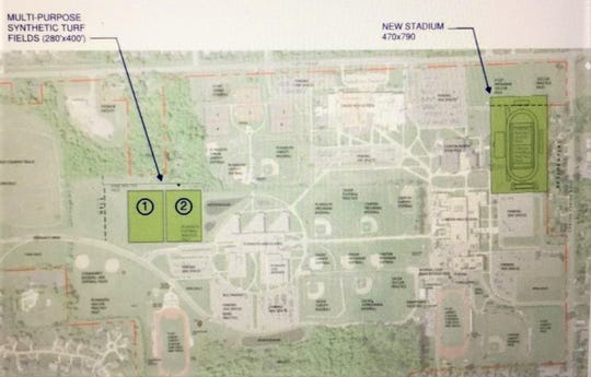 Pictured is a preliminary plan showing the proposed sites of a third PCEP athletics stadium and two new multipurpose fields.