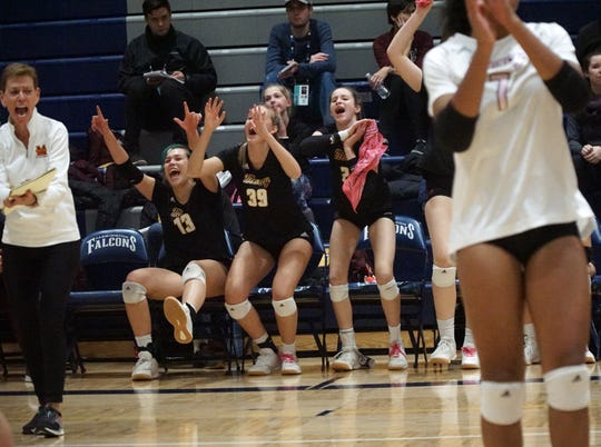 The Mercy bench and coach Loretta Vogel, left, celebrates a point by their team.