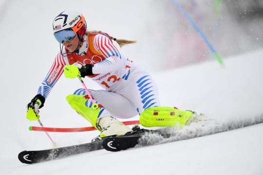 Lindsey Vonn competes in the Women's Alpine Combined Slalom at the Jeongseon Alpine Center during the Pyeongchang 2018 Winter Olympic Games in Pyeongchang on February 22, 2018.
