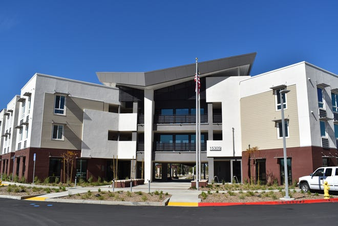 The March Veterans Village apartments in Riverside feature a dog park and a playground.