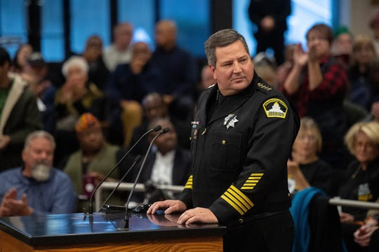 Sacramento Sheriff Scott Jones, shown speaking at a county Board of Supervisors meeting in 2018, was investigated by former Sacramento Sheriff John McGinness in 2004 over allegations that then-Capt. Jones was using his computer access to run criminal background checks for bail bondsmen in Sacramento.