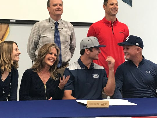Pace baseball's JC Peacher reacts to signing his letter of intent to join Georgia Southern baseball.