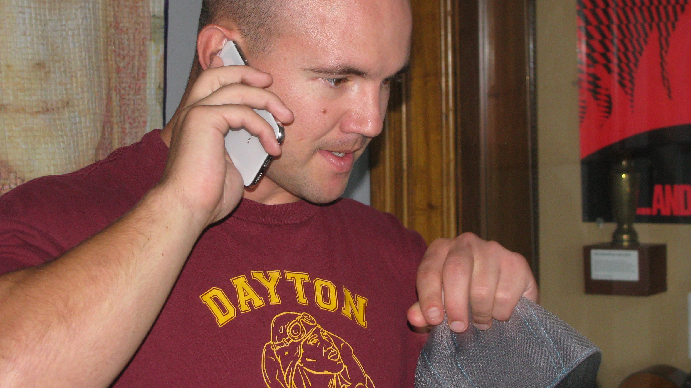 Former NFL linebacker Chris Borland visits the Dayton International Peace Museum on Oct. 7, 2019.