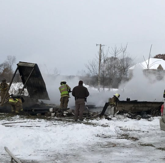 A barn was destroyed in a fire in Columbus Township Wednesday morning.
