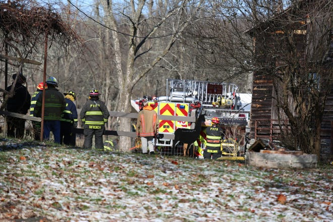 Firefighters responded to a barn on fire on Ruskey Lane Wednesday.