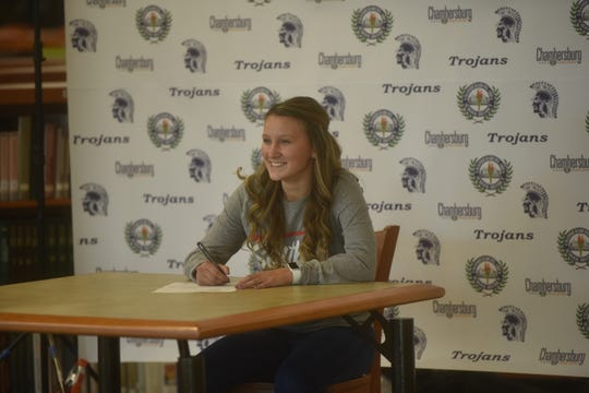 Taylor Myers signs her National Letter of Intent to play softball at Shippensburg University at Chambersburg Area Senior High School on Nov. 13, 2019.