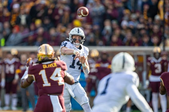 Nov 9, 2019; Minneapolis, MN, USA; Penn State Nittany Lions quarterback Sean Clifford (14) throws a pass in the first half against the Minnesota Golden Gophers at TCF Bank Stadium. Mandatory Credit: Jesse Johnson-USA TODAY Sports