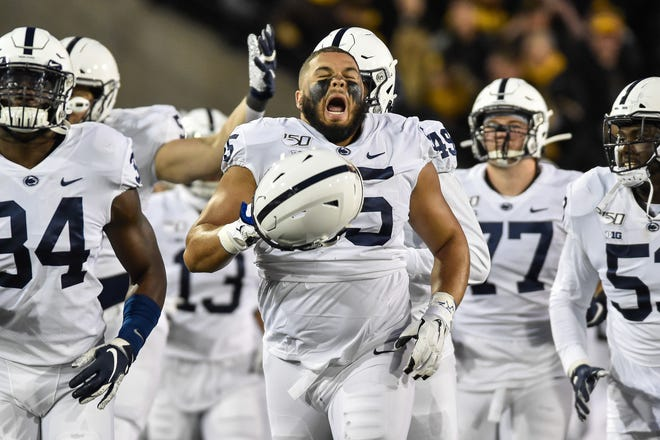 Oct 12, 2019; Iowa City, IA, USA; Penn State Nittany Lions defensive tackle Antonio Shelton (55) enters the field before the game against the Iowa Hawkeyes at Kinnick Stadium. Mandatory Credit: Jeffrey Becker-USA TODAY Sports