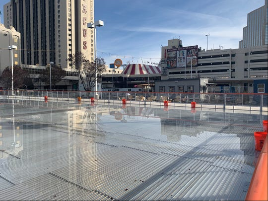 The new ice rink on the corner of 6th and Sierra in downtown Reno is set to open Monday. Crews were making the ice on Tuesday.