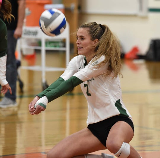 Damonte's Alyssa Zuro bumps the ball against rival Galena during their match at Damonte Ranch High School on Oct. 3, 2019