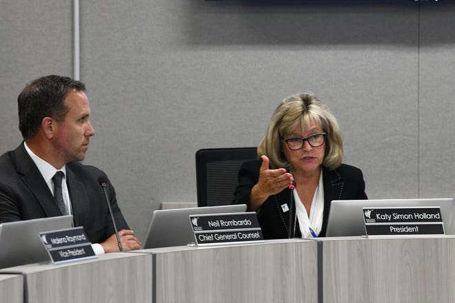 Washoe County School District board president Katy Simon Holland speaks during a special meeting of the board on Nov. 12, 2019.