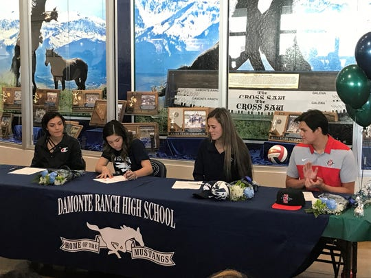 Damonte Ranch had four athletes sign for college on Wednesday; Left to right, Jasmine Alvares-Galindo, Lexi Applebach, Alyssa Zuro and Jadon Bercovich.