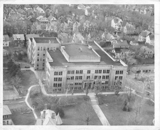 This view of Nazareth Academy in 1950 was taken from a helicopter.