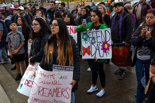 Local residents gather during a rally to support immigration issues like DACA (Deferred Action for Childhood Arrivals) and TSP (Temporary Protected Status) at the Oregon State Capitol in Salem, on Nov. 12.
