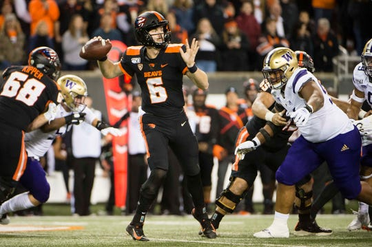 Nov 8, 2019; Corvallis, OR, USA; Oregon State Beavers quarterback Jake Luton (6) throws a pass during the first half agains the Washington Huskies at Reser Stadium. Mandatory Credit: Troy Wayrynen-USA TODAY Sports