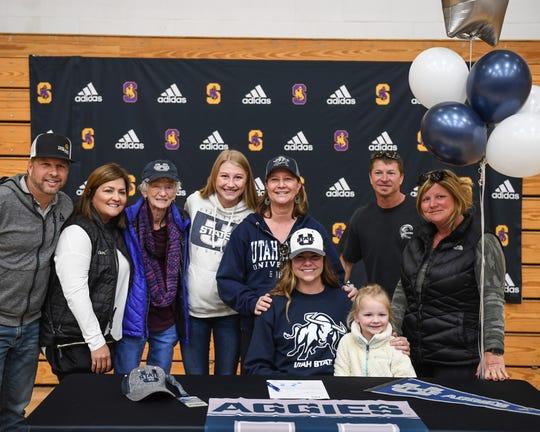 Jessica Stewart (bottom, left) will be suiting up for Utah State University starting next year. Nov. 13, 2019.