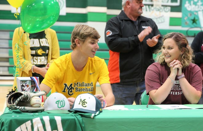 Wall High School's Luke Young and Kendyl Henry made their college athletics plans official Wednesday, Nov. 13, 2019 at the Wall gymnasium. Young will be playing baseball at Midland College next year, while Henry will compete in track and field at McMurry University in Abilene.