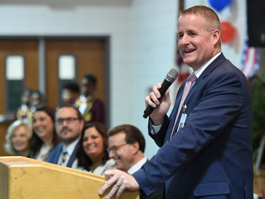 DeSoto Parish Schools Superintendent Clay Corley addresses all-school assembly.