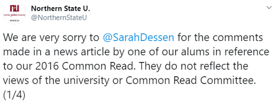 A tweet from Northern State University about an alum's comment regarding author Sarah Dessen.