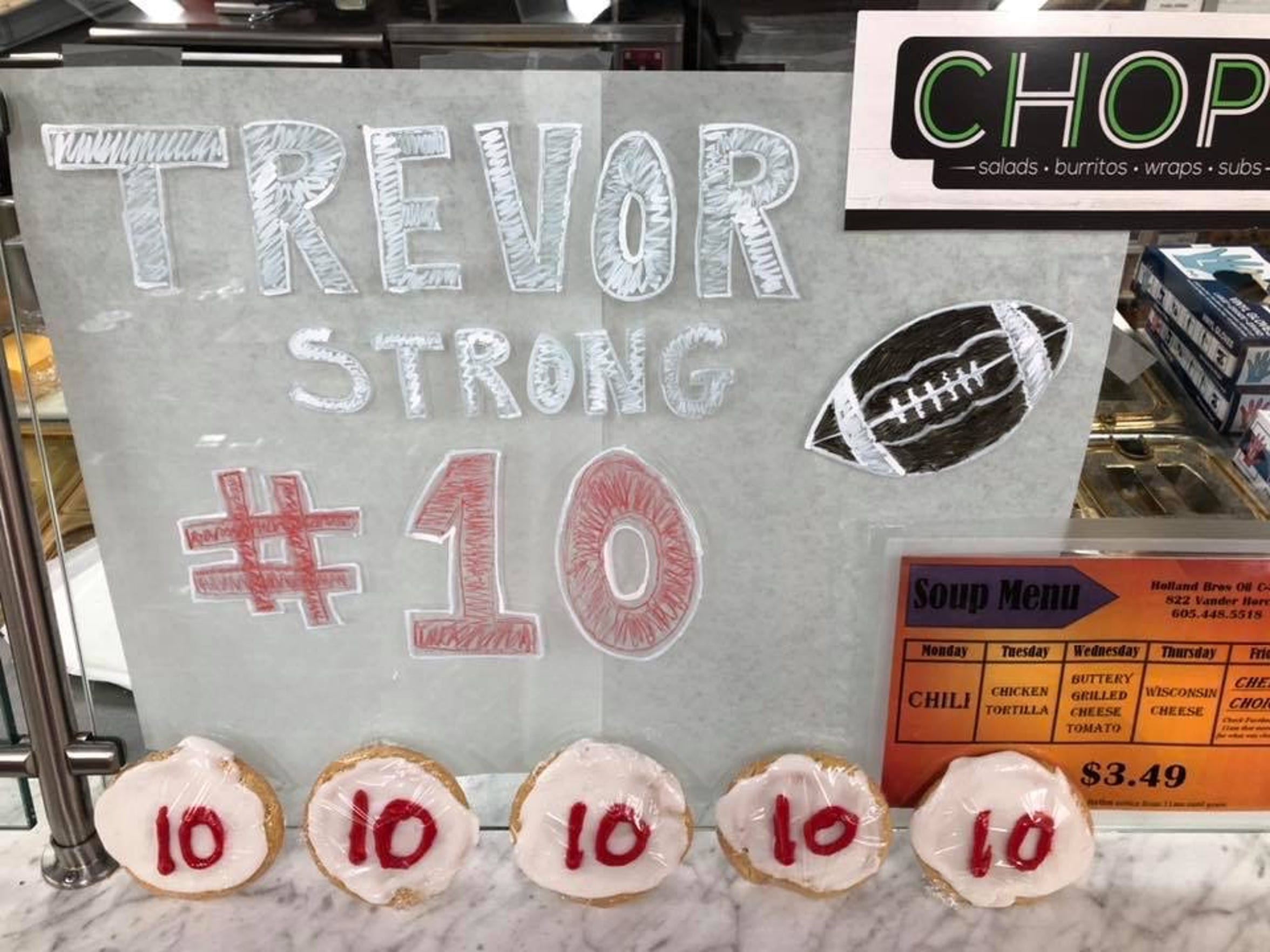Chop sold special No. 10 cookies as part of a fundraiser for Britton-Hecla's Trevor Zuehlke.