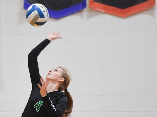 McCook Central/Montrose's Jacy Pulse serves the ball during the state qualifier against Garretson on Tuesday, Nov. 12, 2019 at Roosevelt High School.