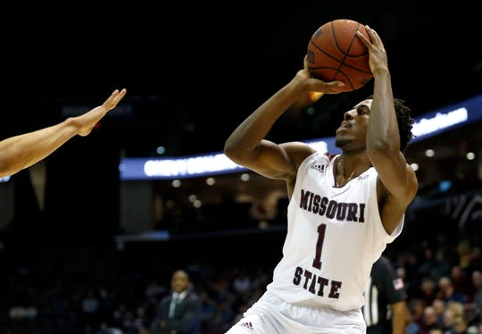 Missouri State senior Keandre Cook shoots a three-pointer on the Cleveland State Vikings at JQH Arena on Tuesday, Nov. 12, 2019.
