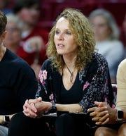 Oklahoma women's assistant basketball coach Jackie Stiles during Oklahoma's exhibition game against Oklahoma City.