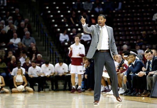 Missouri State Bears Coach Dana Ford leads the Bears during a game against the Cleveland State Vikings at JQH Arena on Tuesday, Nov. 12, 2019.