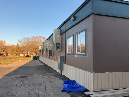 The exterior of the portable building, shown here on Oct. 31, 2019