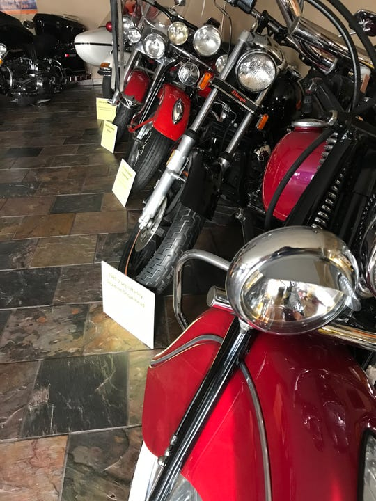 A collection of motorcycles are displayed at Jim and Brenda Feneis' home in Sauk Rapids on Tuesday, Nov. 12, 2019. The collection of classic cars, boats, motorcycles and local memorabilia will be on display during the Zonta Christmas House Nov. 22-23.