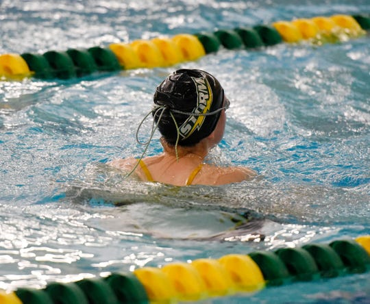 Sauk Rapids-Rice senior Olivia MacDonald swims at practice Tuesday, Nov. 12, 2019, at Sauk Rapids-Rice High School.