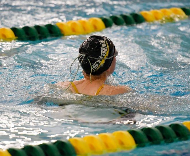 Sauk Rapids-Rice senior Olivia MacDonald swims at practice Tuesday, Nov. 12, 2019, at Sauk Rapids-Rice High School.
