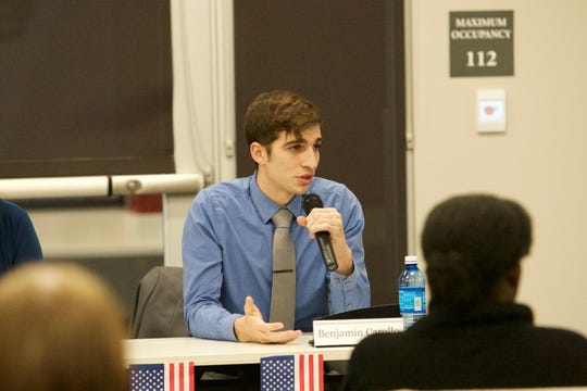 Benjamin Carollo is running for state representative in Minnesota's District 13B in 2020. In this photo from his 2018 campaign, Carollo speaks at a candidate forum.