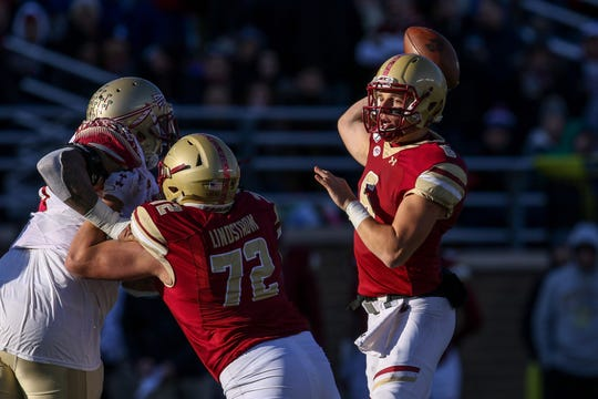 Nov 9, 2019; Chestnut Hill, MA, USA; Boston College Eagles quarterback Dennis Grosel (6) throws a pass against the Florida State Seminoles during the second half at Alumni Stadium. Mandatory Credit: Paul Rutherford-USA TODAY Sports