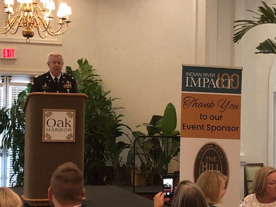 Retired U.S. Army Lt. Col. Carroll Oates  speaks at the 12th annual membership kick-off brunch for Indian River Impact 100 on Nov. 13, 2019 at the Oak Harbor neighborhood off Indian River Boulevard.