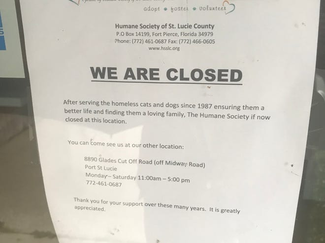 A note on the door of the Humane Society of St. Lucie County announcing the closure of the shelter.