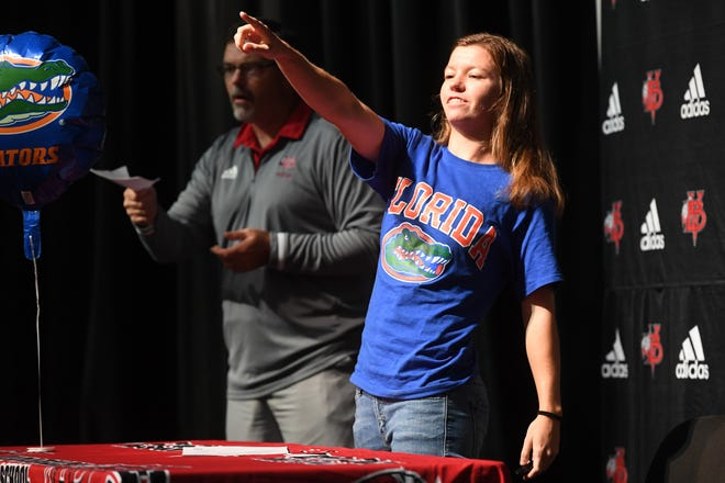 Madeliaine Rhodes, a 2-time all-area girls soccer player of the year, signed a letter of intent to play for the University of Florida during a National Signing Day ceremony on Wednesday, Nov. 13, 2019, at the Performing Arts Center at Vero Beach High School.