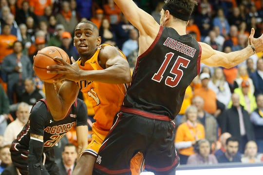 UTEP's Bryson Williams takes a shot against New Mexico State University Tuesday, Nov. 12, at the Don Haskins Center in El Paso.