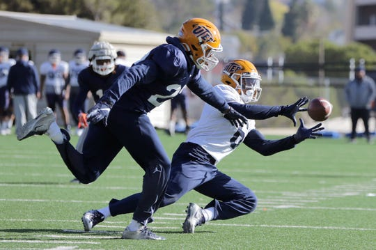 UTEP freshman wide receiver Jacob Cowing catches a tough pass during the Miners' practice Tuesday at Glory Road Field. Cowing set the single-game freshman receiving record against Charlotte with 145 yards.