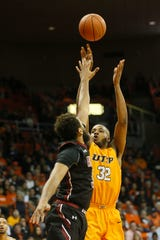 UTEP's Efe Odigie takes a shot against New Mexico State University Tuesday, Nov. 12, at the Don Haskins Center in El Paso.